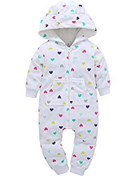 Longra Baby Jungen Mädchen Strampler Herbst Langarm Camouflage Dicker-Druck Jumpsuit Kapuzenpullover Overall Baby...