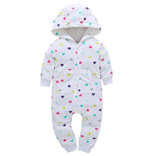 Longra Baby Jungen Mädchen Strampler Herbst Langarm Camouflage Dicker-Druck Jumpsuit Kapuzenpullover Overall Baby Unisex Kleidung(0-24Monate) (65CM 6Monate, White)