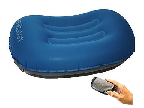 Oreillers de voyage/camping ultralégers gonflables – Oreiller Compressible, Compact, Gonflable, Confortable, Ergonomique pour le cou avec soutien lombaire, pour un bon sommeil en camping ou en excursion