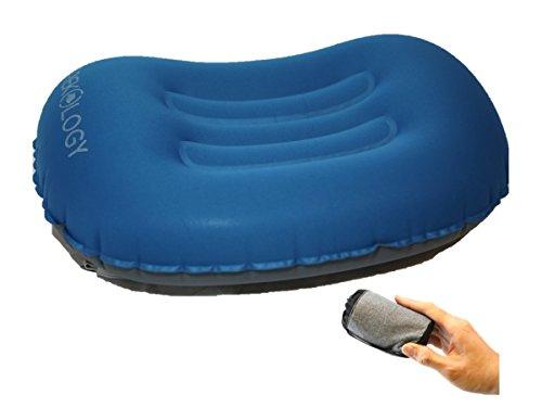 Trekology cuscini gonfiabili ultra leggeri da viaggio / campeggio - cuscino comprimibile, compatto, gonfiabile, confortevole, ergonomico per sostegno del collo e lombare e per una buona notte di sonno in campeggio o in viaggio