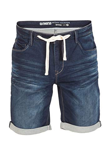 riverso Herren Stretch Jeans Shorts FRED Kurze Hose Sommer Bermuda Stretch Sweathose Baumwolle Schwarz Grau Blau Dunkelblau w30-w42, Größe:W 36, Farbe:Deep Blue (D147)