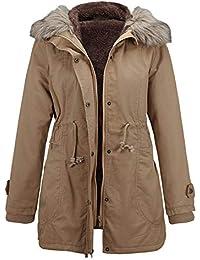 Manteau Long Femme, BaZhaHei Veste à Capuche avec Col en Fourrure Slim Parka  Hiver Outwear 1cb8df7ea2f3