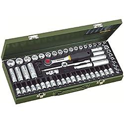 Proxxon 23112 Steckschlüsseleinsätze/Super-Kompaktsatz mit Ratsche, Tiefbetteinsätze, Zündkerzen-Spezialeinsätze, Schraubereinsätze, 65-teilig