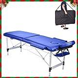 MC Star Mesa de Masaje Banco en Aluminio 2 Secciones Ligera Portátil y plegable Camilla de Masaje Azul