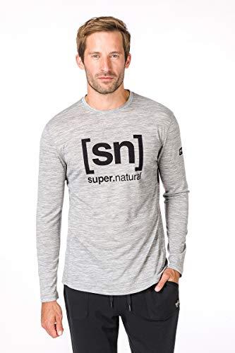 super.natural Bedrucktes Herren Langarm Shirt, Mit Merinowolle, M ESSENTIAL I.D LS, Größe: M, Farbe: Hellgrau -