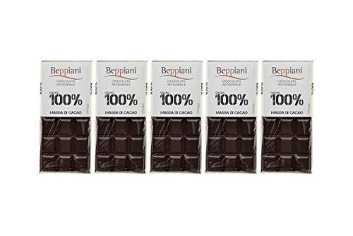 Coffret de 5 Tablettes 100% Pure Pâte de Cacao - 450 g, Beppiani - Chocolat Artisanal sans sucre - FABRIQUÉ EN ITALIE