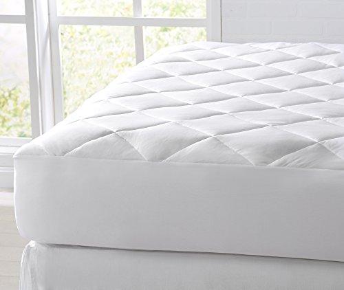 Great Bay Home Kühlende Matratzenauflage aus Baumwolle Hypoallergen. 100% Baumwolle Dehnt Sich bis zu 45,7 cm Tiefe. Von, Polyester-Mischgewebe, weiß, Twin -