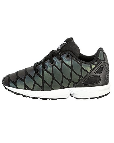 Adidas Originals ZX Flux Xeonpeltis Youth Black Mesh Trainers Blanc-Noir