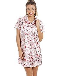 Chemise de nuit longueur genoux - satin - motif floral rose et rouge