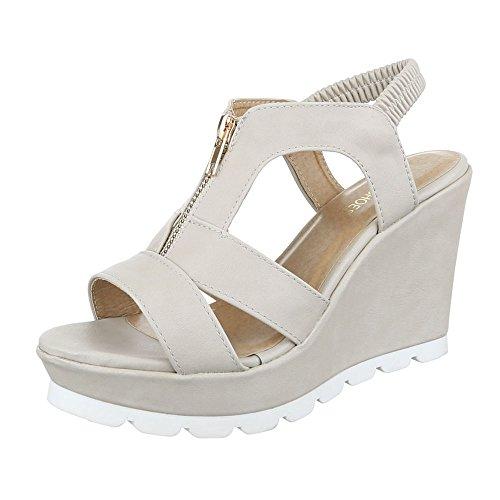 Keilsandaletten Damen Schuhe Plateau Keilabsatz/ Wedge Keilabsatz Ital-Design Sandalen / Sandaletten Beige
