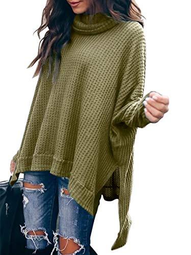 Caracilia Womens Casual Langarm Fledermaus Gemütliches High Neck Solid Sweatshirt C8A3-junlv-S -