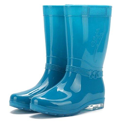 Juleya Frauen Regen Stiefel Damen-Beleg auf Gummistiefel Gummi Gummistiefel Blau