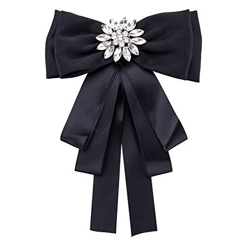Yazilind Krawatte Brosche Vintage Crystal Pre gebundenes Band Bogen Brosche Krawatte Hochzeit Zubehör (schwarz)