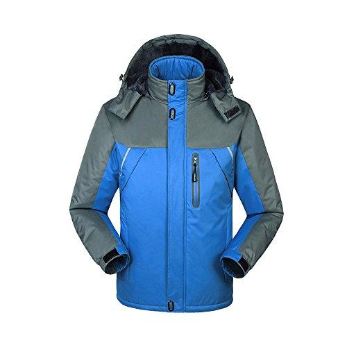Unisex Regenjacke Parka mit Kapuze Übergangsjacke Skianzug Kapuzenmantel Wasserdicht Warm Outdoor Blau