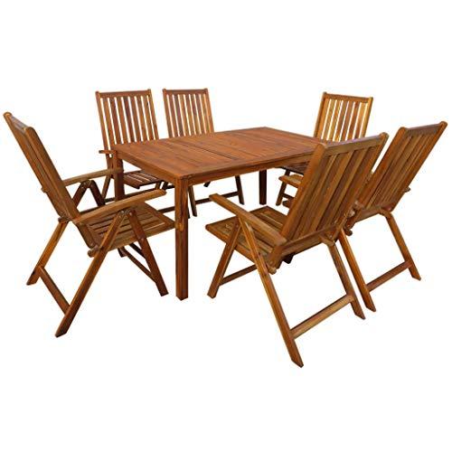 Tidyard- Garten-Essgruppe 7-TLG. Tisch und Stuhl Set | Holztisch und Stuhl | Gartengruppe | Gartenmöbel Essgruppe 1 Tisch + 6 Klappstühle Akazie Massivholz -