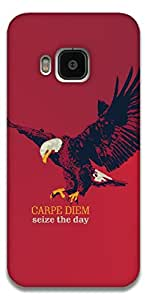 The Racoon Lean printed designer hard back mobile phone case cover for HTC One M9. (Carpe Diem)