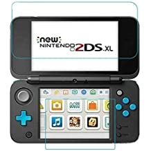 TASLAR Tempered Glass Screen Scratch Protector [Anti-Fingerprint] [Bubble-Free] Top Glass + Bottom Shield Guard Film Compatible with Nintendo New 2DS XL / LL