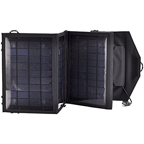 Portable Folding Solar Panel for Camping - Weatherproof, For Tablet + Mobile Phone Charging, 14W, 5.5V