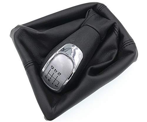 Boutons de changement de vitesse de voiture HDCF 6 vitesses (capuchon argenté) avec botte en cuir Giator compatible pour II 09-12 YETI 09-12
