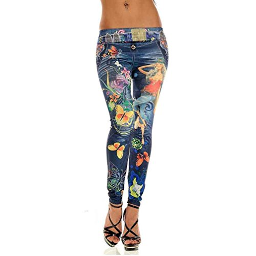 Rawdah Mujeres Skinny Azul Jean denim Pantalones leggings elásticos jeggings (Azul)