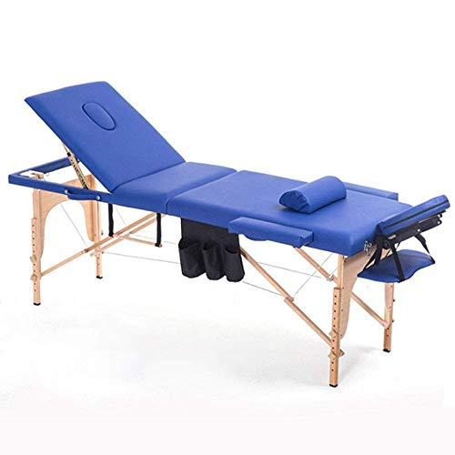 LFNIU Massagebett 2 Abschnitt Klappcouch Bett Leichte Beauty Salon Tattoo Therapie Holzrahmen -Blau Tragbare Massagetisch -