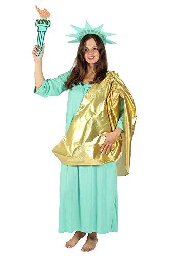 Foxxeo 40329 | Deluxe Damen Kostüm Freiheitsstatue Kleid mit Schärpe Kopfschmuck| Gr. S, M, L, XL, XXL, XXXL | Statue of Liberty, Größe:S