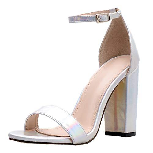 Selou Frauen Leder High Heel Sandalen Mode Transparente Sandalen Party Schuhe Damen Sommerschuhe Casual Elegant Schuhe Braun (Silber High Heels Für Mädchen)