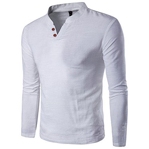 donhobo Herren Langarm Shirt Henley Slim Fit Casual Long Sleeve T-Shirt(01Weiß,L) (Climalite-pack)