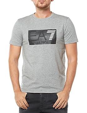 Emporio Armani EA7 Herren T-Shirt Kurzarm Kurzarmshirt runder Kragen Weiß