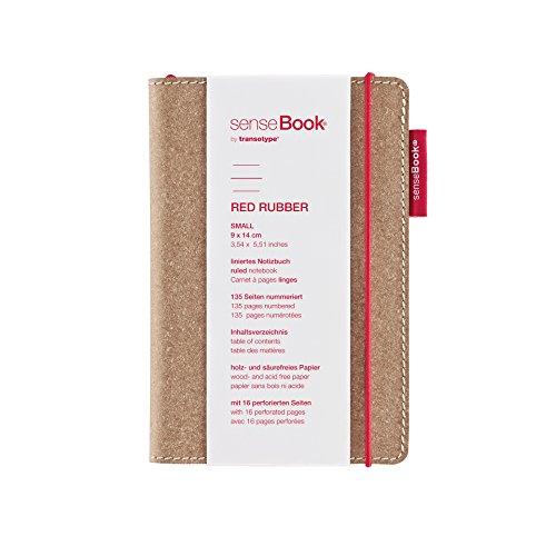transotype senseBook RED RUBBER Design Notizbuch, small - ca. A6, liniert, weitere Varianten auswählbar, mit rotem Gummiband, edles Rinderleder