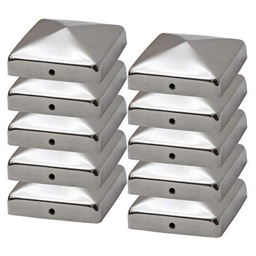 Gentle North Pfostenkappen für 9x9 cm Zaunpfosten (10 Stück) - Abdeckung Edelstahl in Pyramidenform - Pfostenkappe für Holzpfosten - Alternative zu Verzinkt - Kappe für 90x90 mm Pfosten
