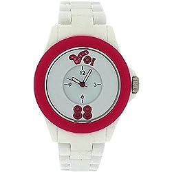 Voi Jeans Arabella Ladies-Girls Analogue White & Pink Plastic Strap Watch