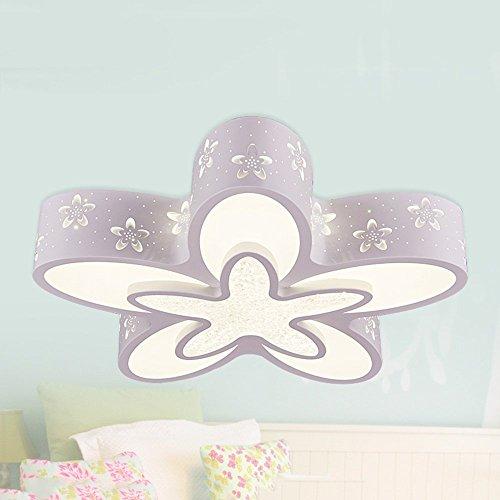 6/3 Lite Kronleuchter Lampe (HOMEE Einfache Blumen LED-Patch dimmbare Kinderzimmer Eisen Deckenleuchten Schlafzimmer Prinzessin Zimmer Lampen Wohnzimmer Studie Cartoon Licht 36-w blau / pink / weiß,# 3-warm-lights)
