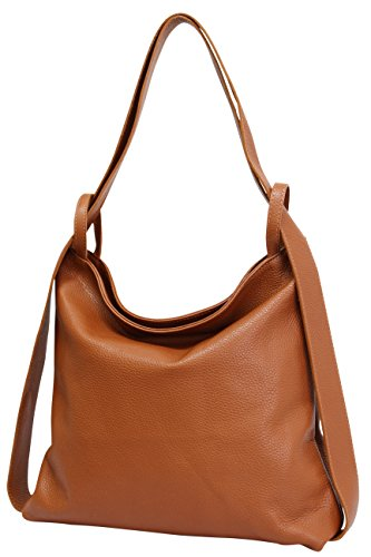 AmbraModa Italienische Ledertasche, 2 in 1 Damenrucksack Daypack Schultertasche Damen Handtasche...