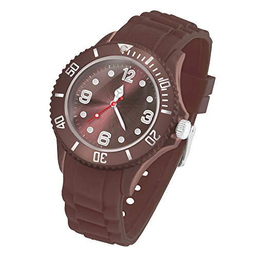 Taffstyle Deutschland Damen Uhr Analog Quarz mit Silikon-Armband Sport Farbige Sportuhr Bunte Armbanduhr Herren Kinder 34mm Braun