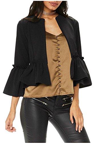 Issza Damen Casual Rüschen 3/4 Arm Blazer Elegante Kurz Jacke Outerwear Strickjacken Schwarz S