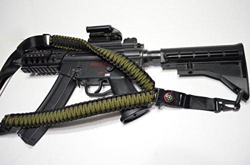 Acid Tactical® 550 Corda per paracadute o per fucile a tracolla, dotata di bussola e pietra focaia, ideale per airsoft paintball, 127 cm, colore: verde/nero - Paintball Gun Slings