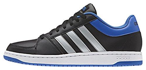 Adidas Herren Hoops Vs Basketball-Schuhe, Mehrfarbig (Cblack/Msilve/Blue), 43 1/3 EU