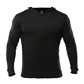 Musclealive Mens Gym Slim Long Sleeve Bodybuilding Hoodies Cotton and Spandex Color PLN Black Size S