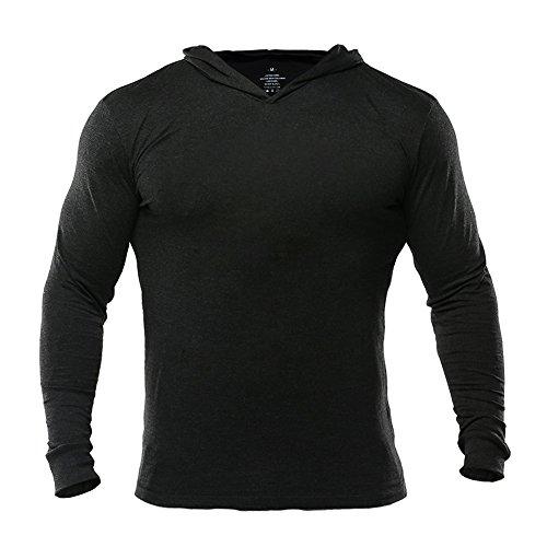 Musclealive Mens Gym dünne lange Hülsen Herren Bodybuilding Hoodies Pullover Baumwolle (Langarm-ausbildung Schwarzes)