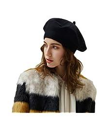 Baijiaye Baschi Donna Francese Basco Caldo Cappello di Lana Classico Beret  Ragazze Berretto per Autunno Inverno a81b64c0da5a