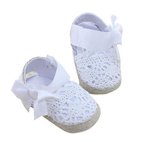 Scarpine Neonato in Pizzo- Scarpe Primi Passi - Scarpette Neonato - Scarpe Bambina Ragazza Ragazzo (Età: 12~18 mesi, Bianca)