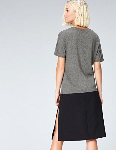 FIND Damen T-Shirt mit Perlen Grau (Grey Marl)