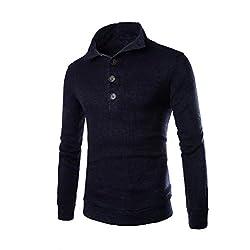 Sweater Longra® Mens Turtleneck Sweater Slim Fit Collar BUTTON OPEN(M-XXL) from Longra®