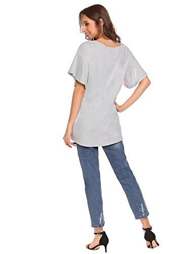 Meaneor Damen Casual Loose Shirt V-Ausschnitt Kurzarm Bluse Sommer Longshirt mit Horn Ärmel S-XXL Hellgrau
