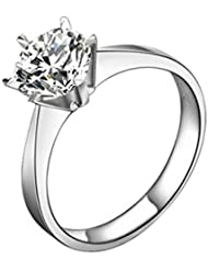 DEHANG - Anillo de Plata 925 CZ - Diseño Clásico con Circonita Diamante - Compromiso Alianzas de boda regalo para Mujer San Valentín Amor - Talla 12 - con caja