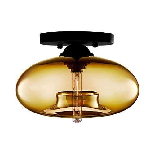 hirm Ø28cm Runde Kreative Einfache Deckenleuchte Vintage E27 1 Leuchtmittel Deckenlampe Retro Decke Beleuchtung Antik Wohnzimmer Küchen Leuchte Bernstein 40W Industrielampe ()