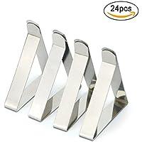 Vicloon 24 Pack Clips de Acero Inoxidable Mantel Pinza para Mantel Cubierta para la fiesta en casa y Picnic (Plata)