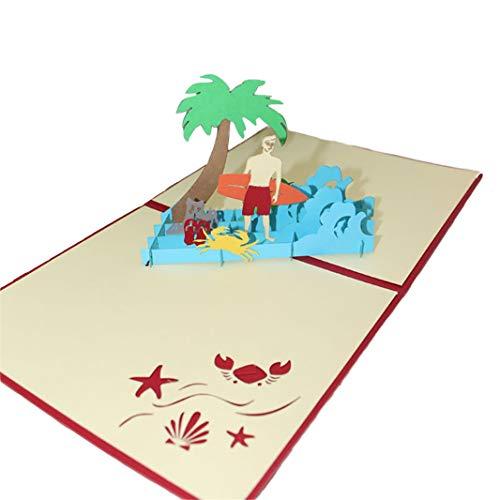 Sperrins Einladungen der Gruß-DIY der Karte-3D, die Kerl-Gruß-Karten-Bankett-Einladungs-Feiertags-Gruß-Karten-Foto-Farbe surfen (Kerl Surfen)