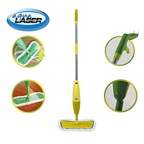 Aqua Laser Spray Mop Bodenwischer mit Sprühfunktion/Zerstäuber und Mikrofasertuch (gelb)